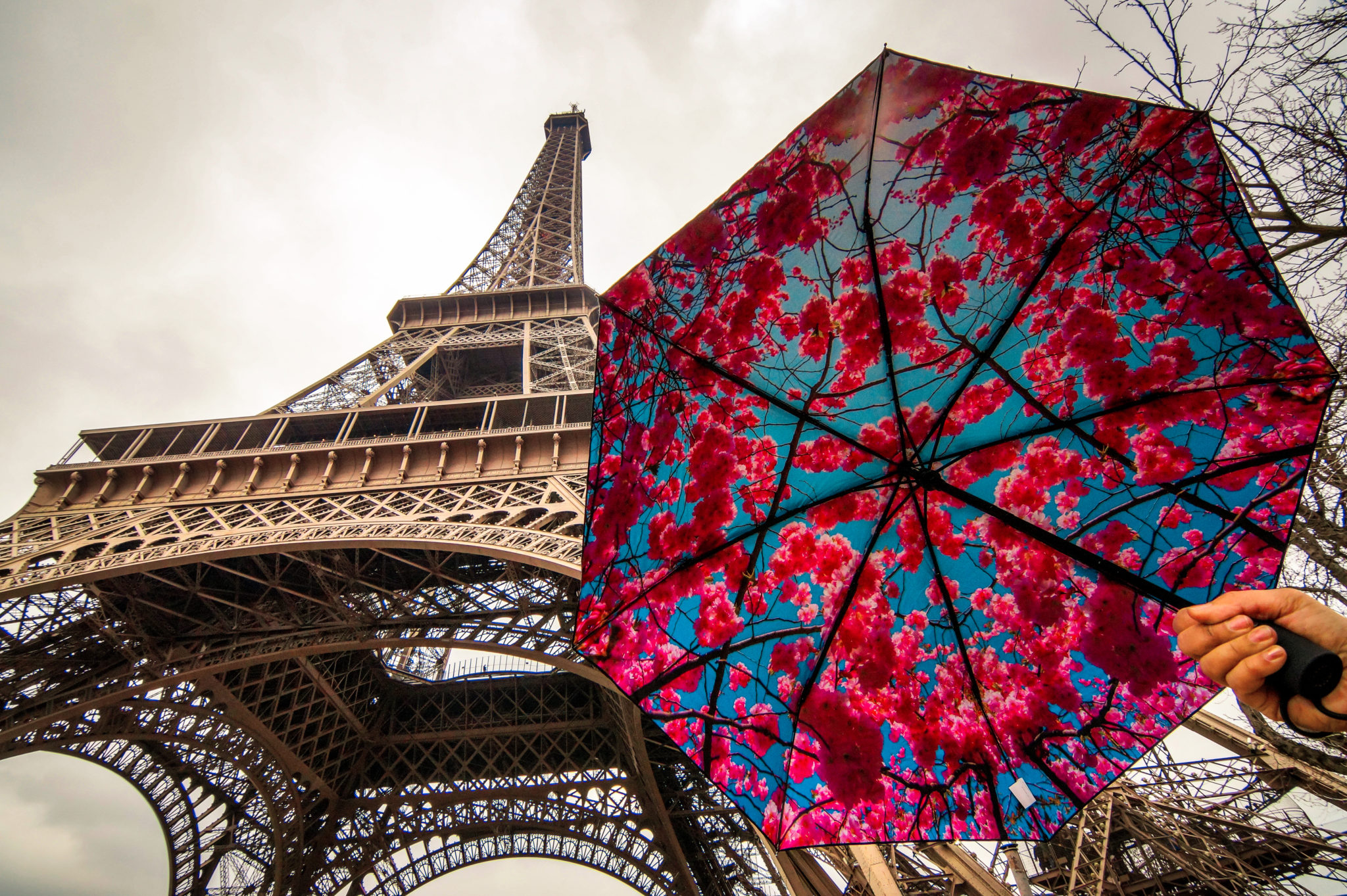 Hemaposesesvalises_Happysweeds_Cherry_Umbrella_Tour_Eiffel