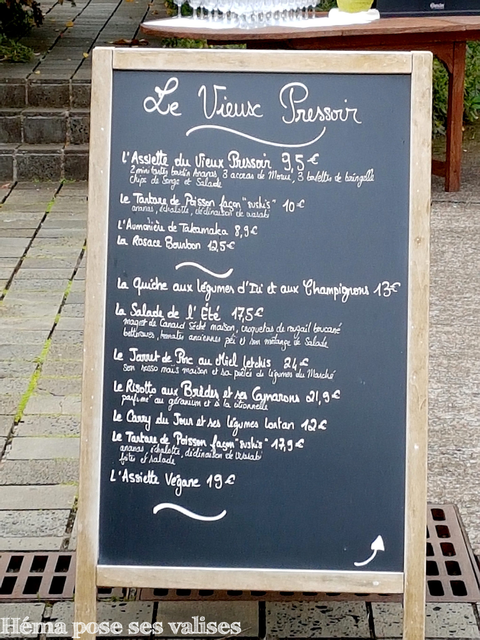 Menu du restaurant Le Vieux Pressoir du Conservatoire botanique national de Mascarin