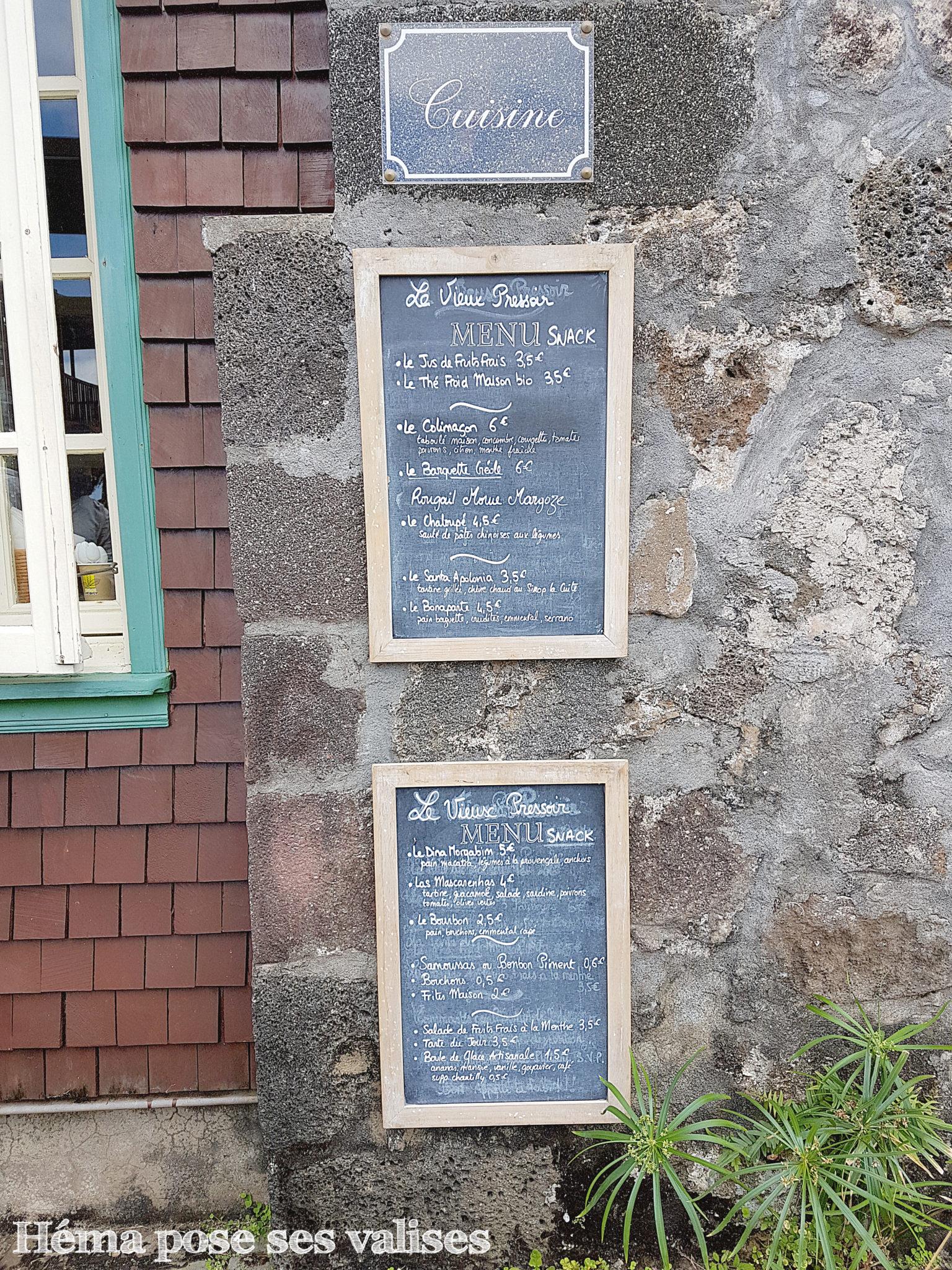 """Menu du snack du restaurant """"Le Vieux Pressoir"""", restaurant du Conservatoire botanique national de Mascarin"""