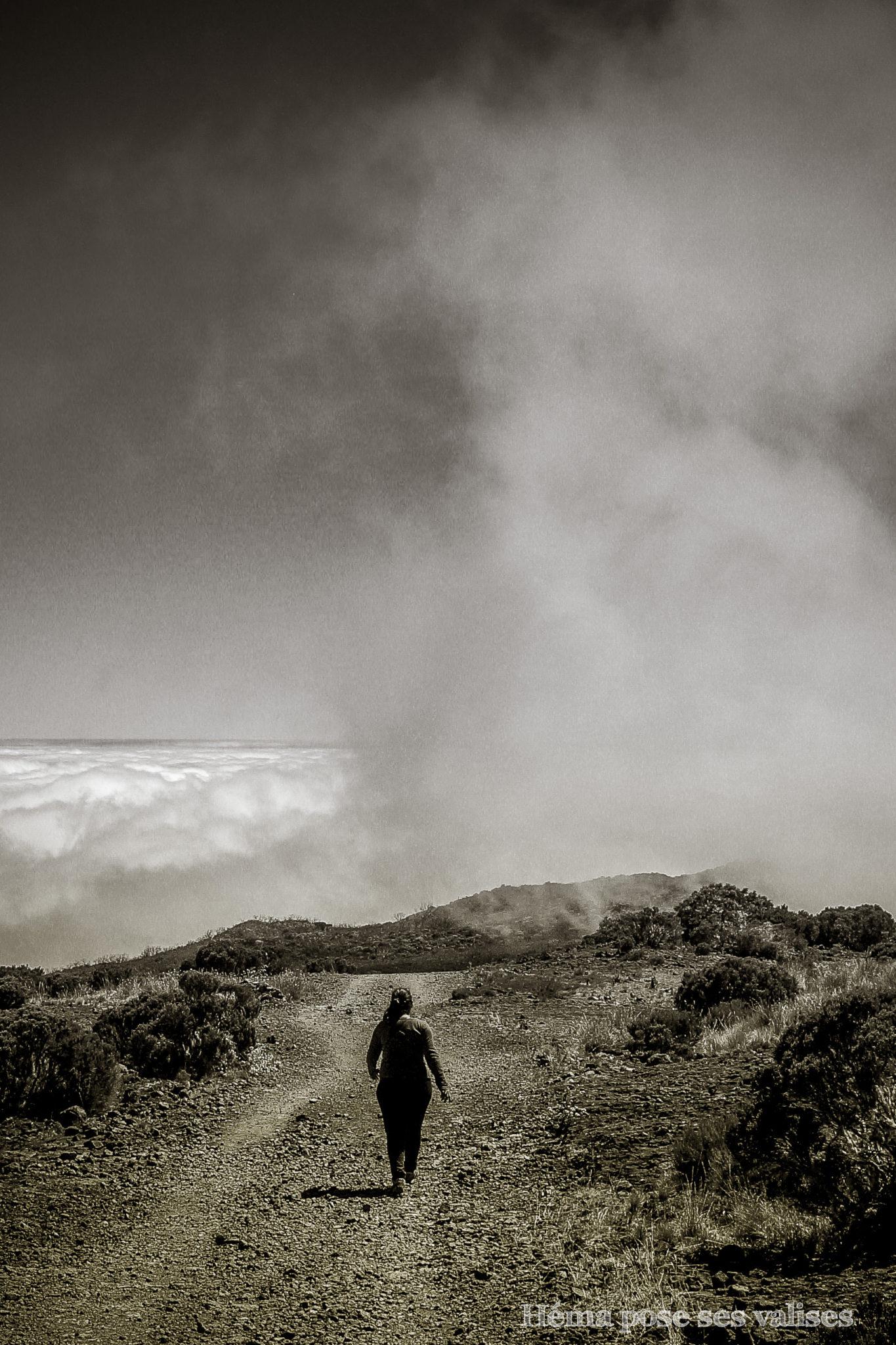 Les nuages qui défilent sur le Piton Maïdo